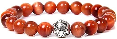 Pulsera Feng Shui Bead Pulsera de piedra Mujer, 7 Chakra Natural Tiger Eye Piedra Bangle Brazalete Naranja Pulsera Elástica grabado Lucky Charm Jewelry para Hombres Señoras Pulsera de abalorios de amu