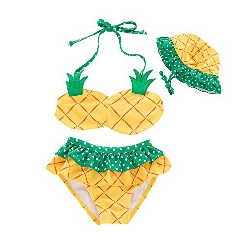 Amberetech Toddler Baby Girls 3pcs Swimwear Pineapple Bathing Suit Swimsuit Bikini Set+ Hat (Pineapple, 18-24 Months)