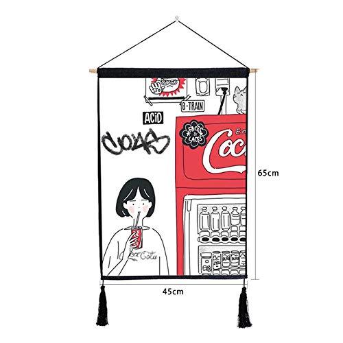 XIAONI CuadroEnLienzo,Anime Poster Cartoon Girl Máquina Expendedora De Bebidas Art Decorativo Colgante Pintura Impreso Lienzo Percha De Madera Borla para Hogar Pared Sala De Estar Dormitorio