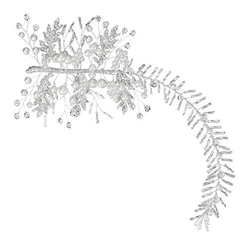 FRCOLOR Novia Boda Diadema Plata Cristal Perla Diamante de Imitación Pelo Vid