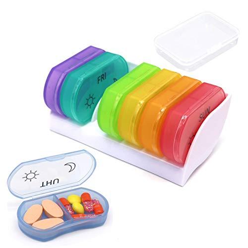 Pastillero Semanal 7 días Organizador de Pastillas Diario Grandes compartimentos BPA gratis caja de medicina para la medicación Vitaminas Suplementos de aceites de pescado (white base)