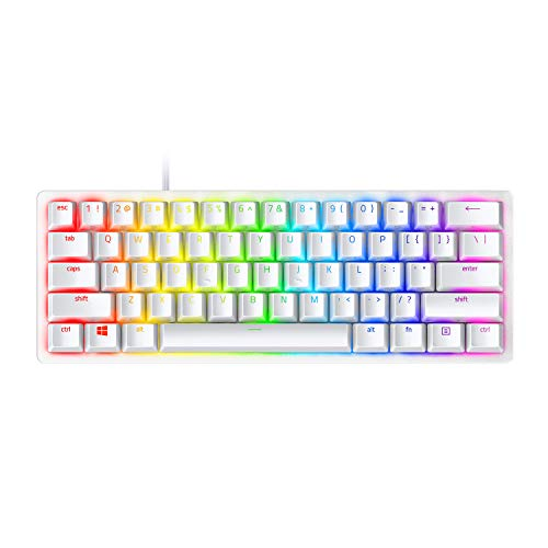 Razer Huntsman Mini Mercury Ed. (Purple Switch): clavier de jeu compact (clavier compact 60% avec commutateurs opto-mécaniques Clicky, touches PBT, câble USB-C détachable) - US Layout, Blanc