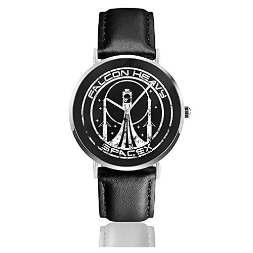 Falcon Heavy Spacex Imagen Personalizada Personalizada Reloj Deportivo Unisex con Correa de Cuero Relojes de Cuarzo Reloj de Pulsera para Hombres y Mujeres