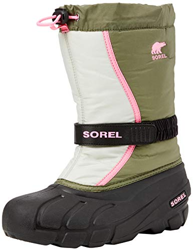 Sorel Kinder Youth Flurry Stiefel, grün (hiker green)/pink (bubblegum), Größe: 35