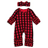Newborn Baby Girls Fold Ruffle Jumpsuit Solid Romper Long Sleeve One-Piece Coming Home Outfits+Headband (Plaid, 3-6 Months)