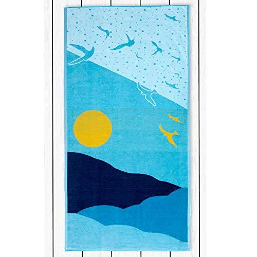 DecoKing Toalla de playa grande 90 x 180 cm algodón rizo terciopelo toalla de baño azul blanco amarillo océano