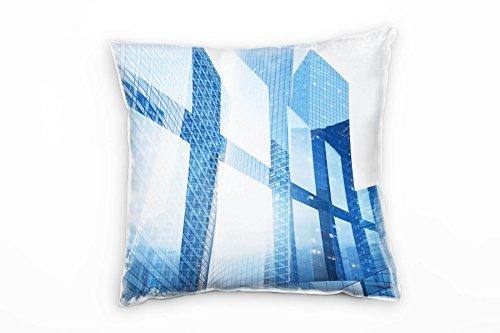 Paul Sinus Art City, abstract, hoge huisjes, ramen, blauwe decoratiekussen 40x40 cm voor bank, sofa lounge sierkussen - decoratie om je goed te voelen