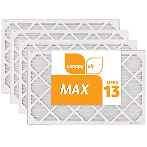 Canopy Air 16x25x1, MAX AC Furnace Air Filter, MERV 13, Made in the USA, 4-Pack (Actual Size 15...