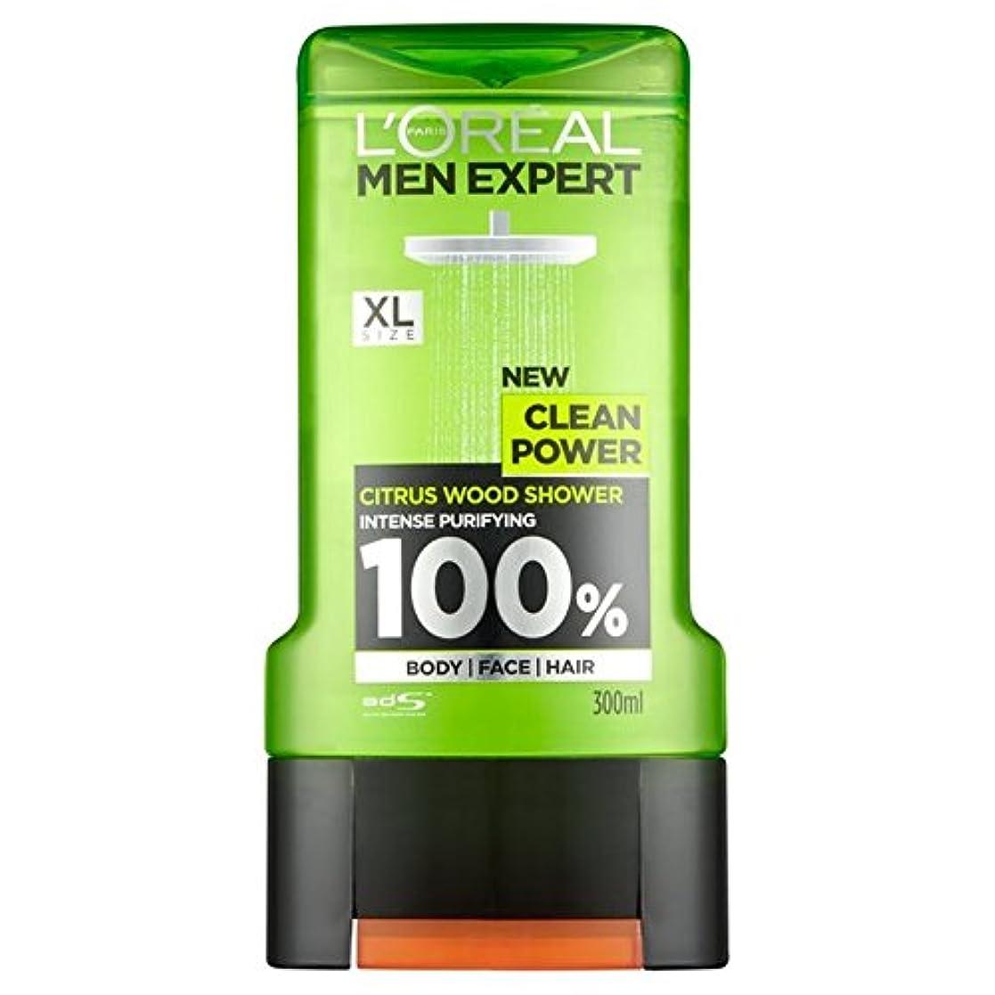 ミトンずっと気晴らしロレアルパリの男性の専門家クリーンパワーシャワージェル300ミリリットル x2 - L'Oreal Paris Men Expert Clean Power Shower Gel 300ml (Pack of 2) [並行輸入品]