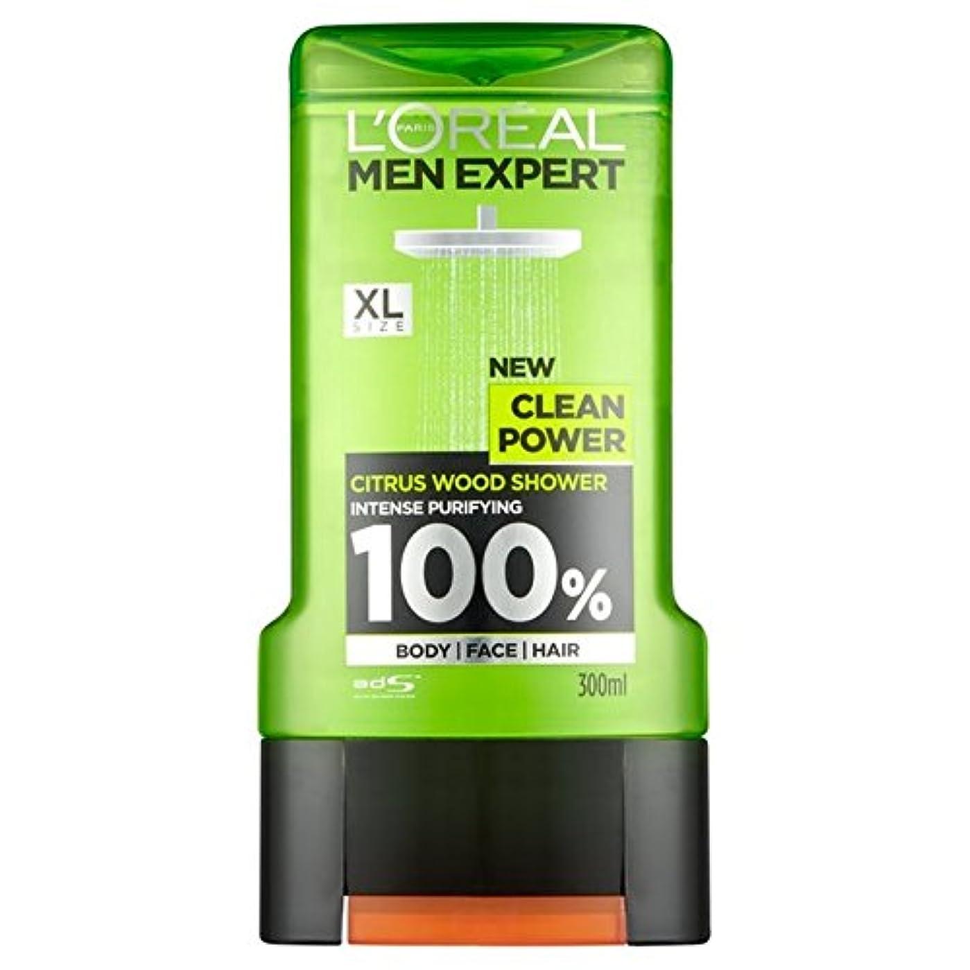 休日につかむ里親ロレアルパリの男性の専門家クリーンパワーシャワージェル300ミリリットル x2 - L'Oreal Paris Men Expert Clean Power Shower Gel 300ml (Pack of 2) [並行輸入品]