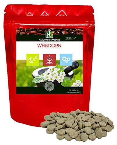 Weißdorn / 90 500mg Tabletten/NAKURU Entspannen/Bio-Pulver getrocknet und kalt gepresst/Analysiert und konditioniert in Frankreich