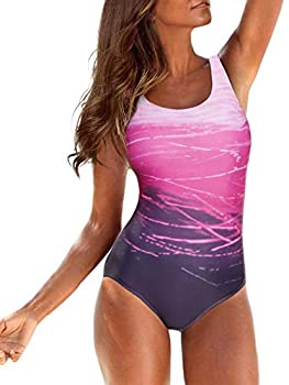 Women s One Piece Swimsuits for Women Athletic Training Swimsuits Swimwear Racerback Bathing Suits for Women Purple Large  fits Like US 10-12