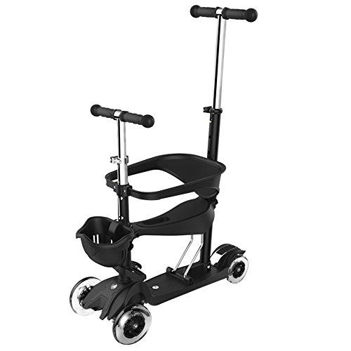 Zxwzzz Kinderroller, Fünf-in-One Seat, Stehen, Motorroller, 4 Räder, Flashing Rad, 2-6 Jahre alt, Baby-Pedal-Roller (Color : B)