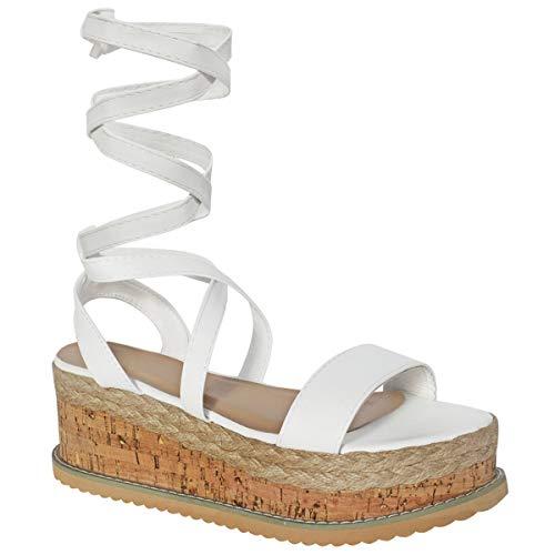 Fashion Thirsty Heelberry® Damen Plateau Kork Espadrille Keilabsatz Stiefeletten Schnürschuhe - Weiß Kunstleder, 38