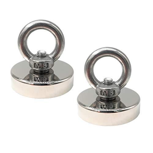 Magnetpro 2 pièces 80 KG force adhésive aimant à œillet en néodyme super fort, aimant puissant parfait pour la pêche magnétique - Ø 48mm avec aimant en pot néodyme