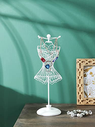 NIKKY HOME Jewelry Towers White Wire Dress Form Mannequin Holder Jewelry Stand Organizer Display 4 Hooks for Bracelet Necklace Earring Ring Metal Vintage Decor Ornament Girl Gifts, White
