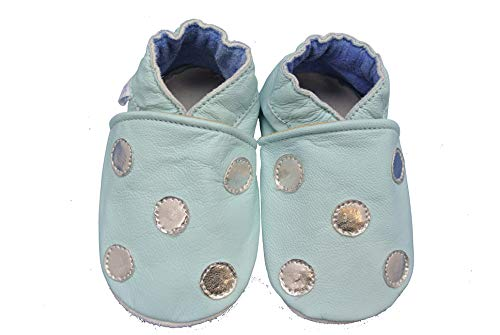 Shoozies Chaussures bébé en cuir souple pour filles et garçons Bleu pâle avec pois argentés