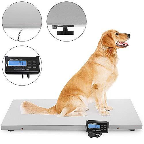 Hukoer Digitale ladder voor huisdieren, hoge precisie, 110 x 55 cm, roestvrij stalen gewichtsschaal voor grote dieren, ansichtkaarten, transport, magazijn, fabriek 300 kg.