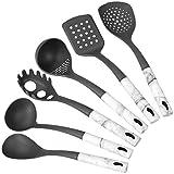 mDesign Juego de 6 utensilios de metal y silicona para cocina – Accesorios para cocinar para colgar – Set de espátula de cocina, cuchara, espumadera, cucharón y cuchara para pasta – marmolado y gris