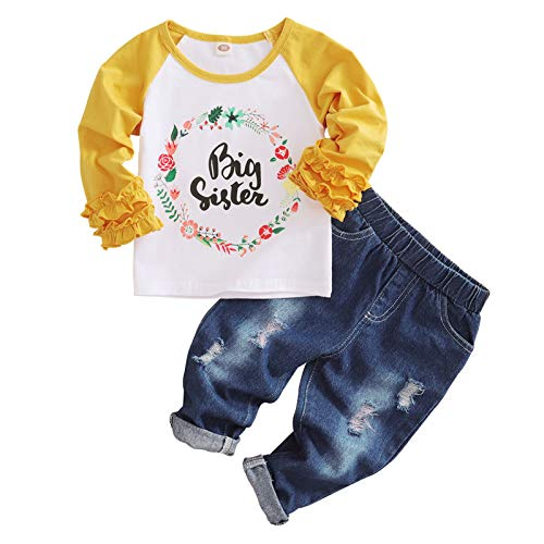 Baby Girl Big Sister Clothes Kids Floral Ruffle Sleeve Shirt Elastic Waist Denim Pants Ripped Jeans 2PCS Outfit Set (Yellow, 3-4T)