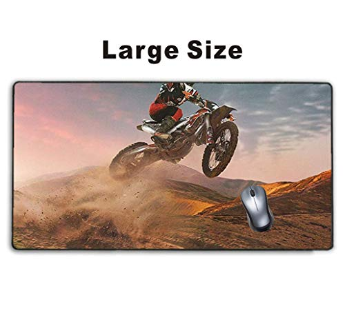 Meharmh - Large Gaming Mouse Pad,Extended Mousepad with Non-Slip Rubber Base for Laptop Computer Desktop Keyboard,Stitched Edges Mat - Motocross Biking Racing