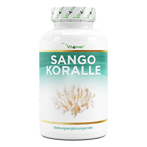 Coral marino Sango - 180 cápsulas - Fuente natural de calcio (20%) y magnesio (10%) en la proporción propia del cuerpo de 2:1 - Altamente dosificado