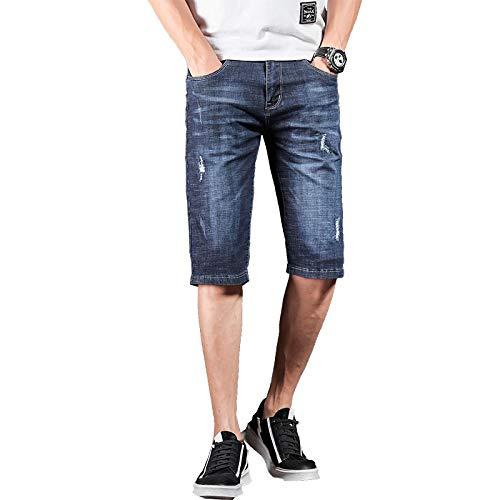 Vaqueros para Jeans Pantalones Pantalones Vaqueros para Hombre Marca Ripped Biker Jeans Pantalones Cortos para Hombres Pantalones De Mezclilla Elástico Azul Oscuro Streetwear Fraye