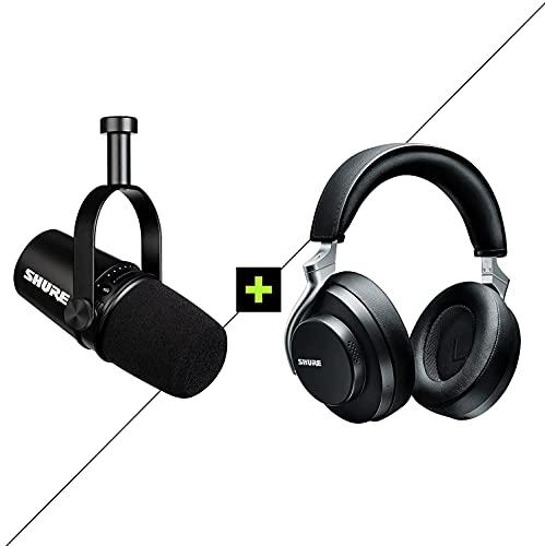 Shure MV7 USB/XLR Dynamic Microphone + AONIC 50 Wired/Wireless Noise Cancelling Headphones for Podcasting, Recording, Streaming & Gaming, Professional Quality Sound & Durability - Black/Black