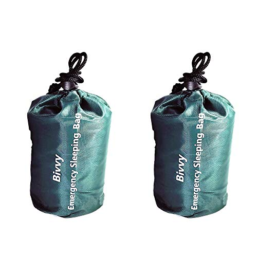 TOOGOO 2Pack Emergency Sleeping Bag Waterproof Lightweight Bivy Sack Survival Blanket Bags for Camping Hiking Outdoor Emergency