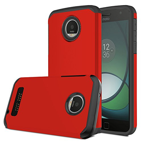 Moto Z Play Case, Venoro [Shockproof] Slim Hybrid Dual Layer Armor Defender Rugged Protective Case Cover for Motorola Moto Z Play/Moto Z Play Droid (Red)