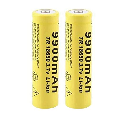HIWASH Batería Recargable De Iones De Litio De Alta Capacidad 3.7v 18650 9900mah, para Relojes LáMpara Led De Juguete Faro CáMara MicróFono De Control Remoto 2pcs