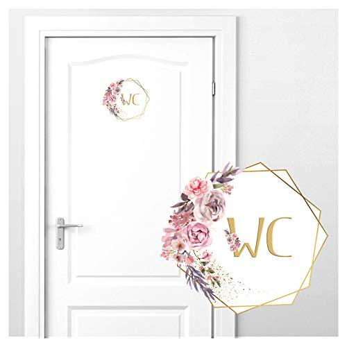 Grandora Türaufkleber WC mit Blumenranke I 20 x 18 cm (BxH) I Wandsticker Badezimmer selbstklebend Klo Wandaufkleber Toilette Wandtattoo DL444