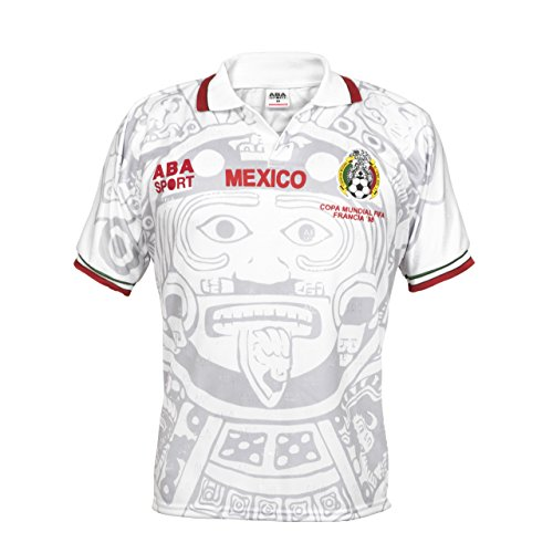 Mexico Authentic 1998 World Cup Soccer Jersey, White, Large