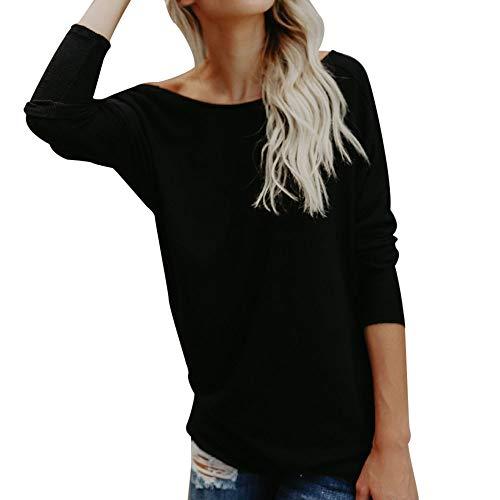 TOPSELD Elegante blusa de manga larga para mujer, con espalda descubierta, sudadera, sudadera, camiseta, parte superior sexy, cuello redondo, espalda descubierta Negro XL