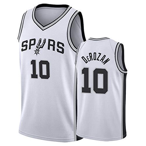 OJN # 10 Spurs DeRozan Männer Basketball Jersey Shorts, Jersey Sport Hot Press Version Men Mesh-Performance-athletische Basketball-Trikots Shorts (S-XXL) Sports Vest-XXL