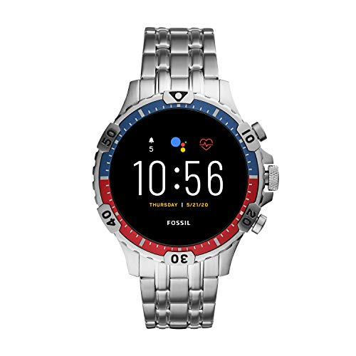 Fossil Unisex 46MM Gen 5 Garrett HR Heart Rate Stainless Steel Touchscreen Smart Watch, Color: Silver (Model: FTW4040)