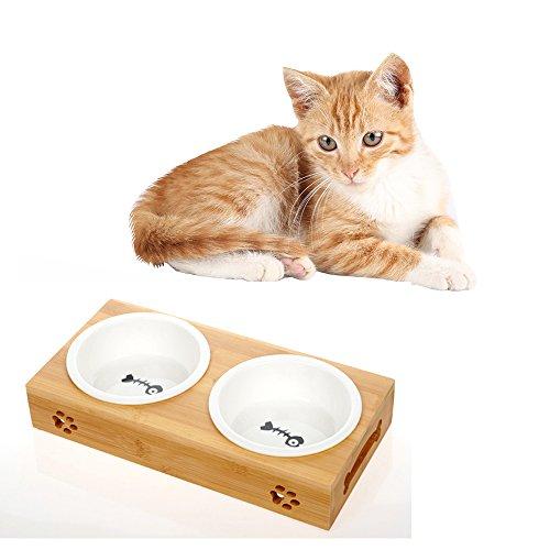 【Momugs Akira】猫食器 スタンド 猫用フード ウォーターボウル ご飯台 健康な食事を〜 取り外し可能 お手入れ簡単 陶器 二つボウル