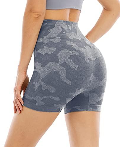 NORMOV Pantalones cortos de gimnasio de cintura alta sin costuras para mujer de malla hueca de camuflaje transpirable de compresión para control de barriga, entrenamiento de yoga, Camuflaje gris, M