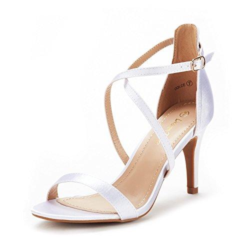 DREAM PAIRS Women's Dolce White Satin Fashion Stilettos Open Toe Pump Heel Sandals Size 8 B(M) US