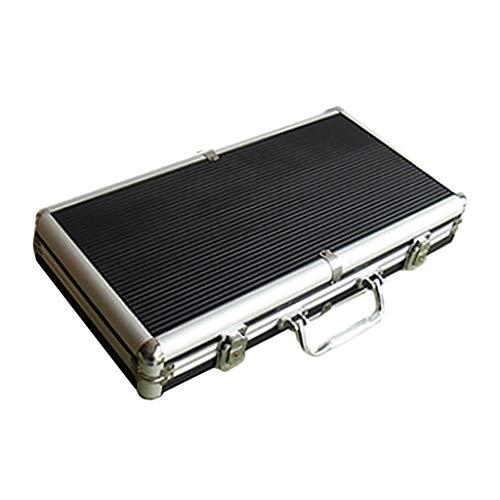 lahomia Caja de Aluminio para Fichas de Póquer con Capacidad para 300 - Caja de Almacenamiento Vacía, Fuerte Juego de Póquer