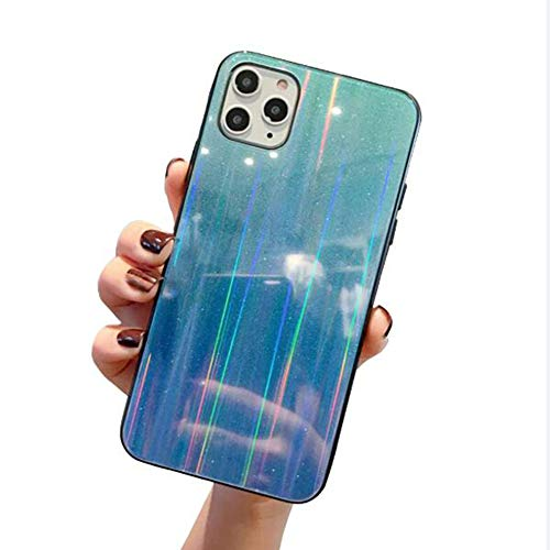 WODETIAN Transparent Aurora Gradient Color Case for Iphone 11/11 Pro/11 Pro Max Ultra Thin Tempered Glass Back Anti-Scratch TPU Bumper Shockproof Protective Case Cover,B,11pro max
