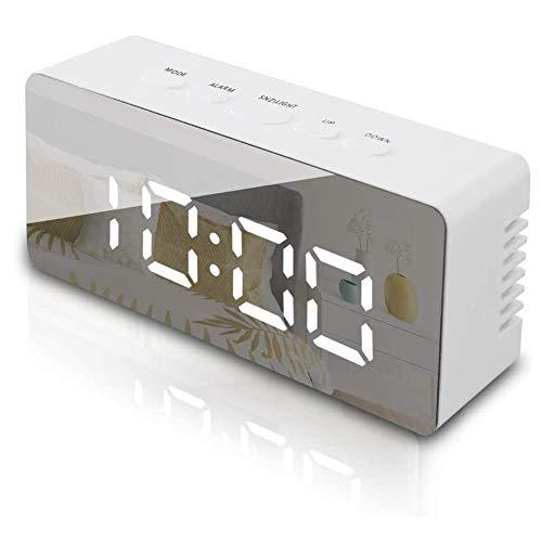 Seqmiro Digitaler Wecker, LED Digital Wecker Spiegel Tischuhr mit Temperatur Anzeige, Digitaluhr Digitalwecker Reisewecker Uhr USB Aufladen, 12/24 Stunden/Snooze/Datum/Einstellbare Helligkeit, Weiß