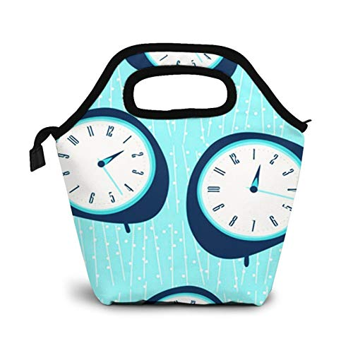 Bolsa Térmica Comida Bolsas De Almuerzo para Mujeres Hombres Niñas Niños Bolsa Isotérmica De Almuerzo Reloj de mediados de siglo