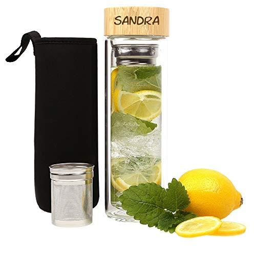 FORYOU24 Tee-Flasche mit Wunschgravur, doppelwandig isoliert, Trinkflasche mit Tee-Sieb, Glas-Flasche mit Infuser, Teezubereiter, Teebecher to go, Teekanne graviert mit Bambusdeckel