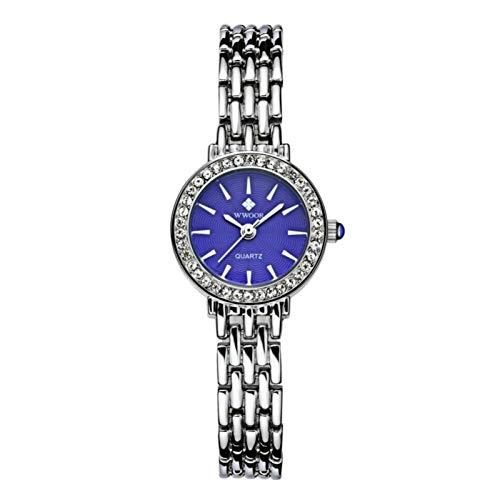 DAUERHAFT WWOOR Reloj de Pulsera con Movimiento de Cuarzo Elegante para Mujer, Resistente al Agua, con Correa de Acero de aleación, Bonito Regalo para Tus Amigos, familias o para ti Mismo(Azul)