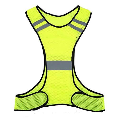 Vbest life Gilet de sécurité réfléchissant Haute visibilité vêtements de sécurité de Course de Nuit Taille réglable Protecteur de Construction de Couleur néon(Jaune Fluo)