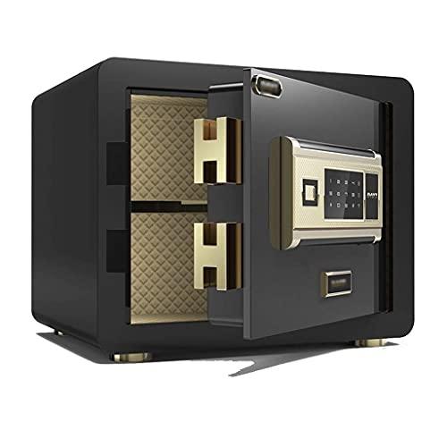 Cajas Fuertes Oficina Electrónica Desbloqueo de Huellas Dactilares de Acero Completo Alarma Inteligente Electronic Home Mini, Puede ingresar al Armario (Color: Negro, Tamaño: 30 * 25 * 25 cm)