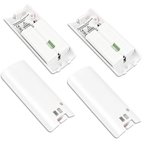 4 Pcs Wii Remote Batteries Rechargeable, 2800mAh High-Capacity Rechargeable Batteries for Wii/Wii U Remote Controller (White)