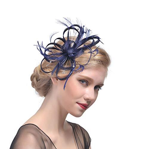 Lazder Tocado de boda para novia, con volantes y plumas de flores,...