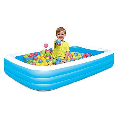 YANXS Piscina Hinchable para Niños Espesar Piscina Infantil Azul Rectangular Piscina para Bebés Inflable Plegable 3 Aros para Fiesta Playa Jardín Capacidad de Agua 1161L